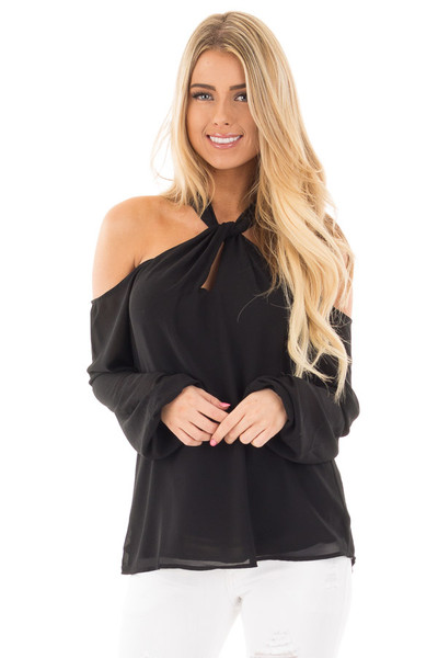 Black Chiffon Cold Shoulder Long Sleeve Halter Top front close up