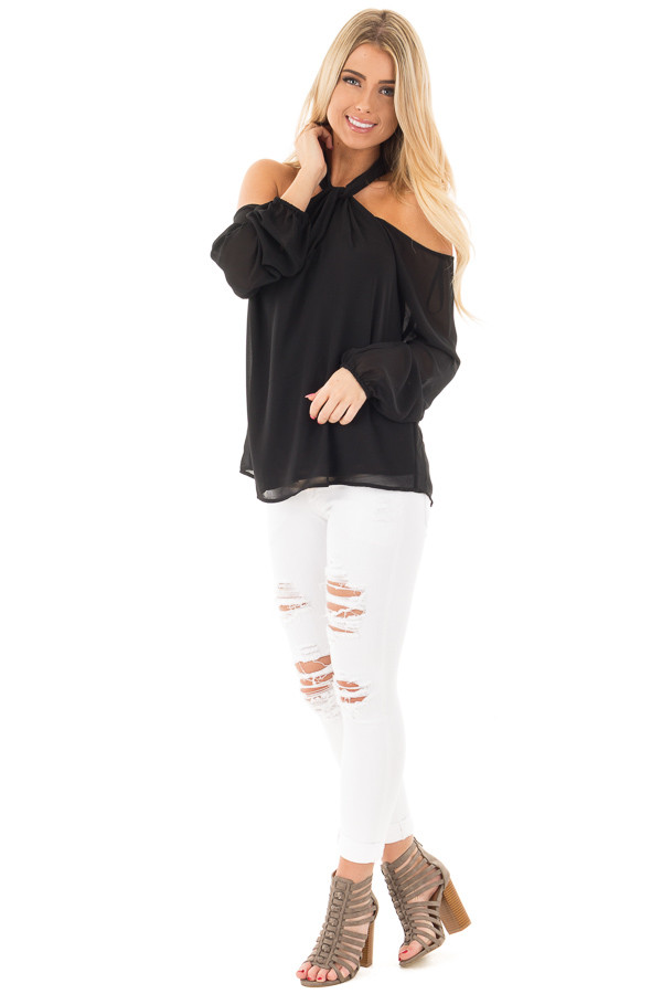 Black Chiffon Cold Shoulder Long Sleeve Halter Top front full body