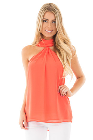Salmon Chiffon Mock Neck Halter Top with Key Hole Detail front close up