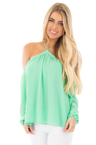 Pale Green Cold Shoulder Long Sleeve Halter Top front close up