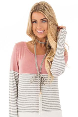 Grey Faux Suede with Bead Tassel Wrap Around Necklace