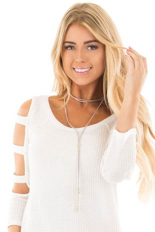 Grey Faux Suede Choker with Gold Leaf Detail Necklace