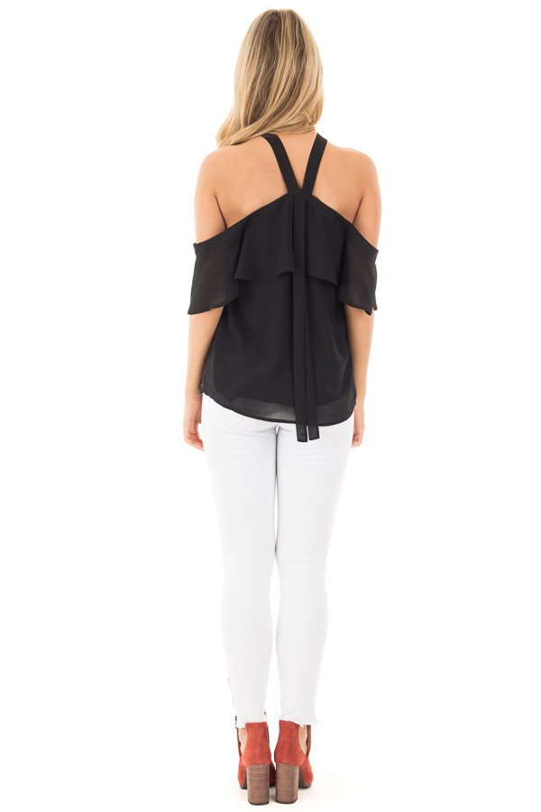 Black Layered Cold Shoulder Halter Top with Back Tie back full body