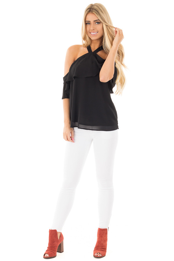 Black Layered Cold Shoulder Halter Top with Back Tie front full body