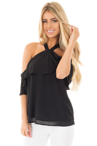 Black Layered Cold Shoulder Halter Top with Back Tie front close up