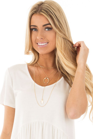 Gold Choker Multi Layered Horn and Triangle Necklace