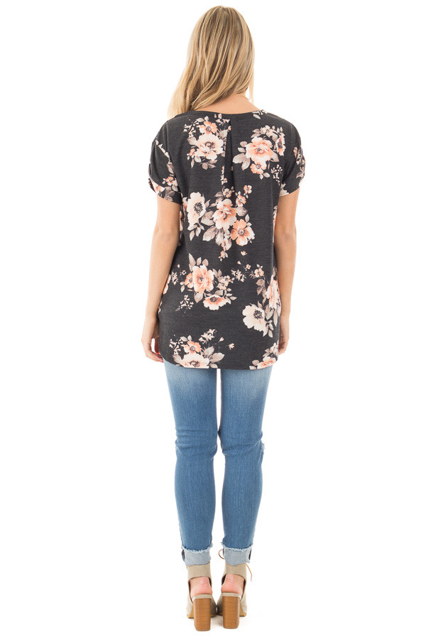 Charcoal Floral French Terry Tee with Breast Pocket back full body