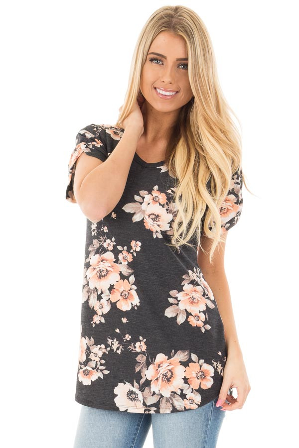 Charcoal Floral French Terry Tee with Breast Pocket front close up
