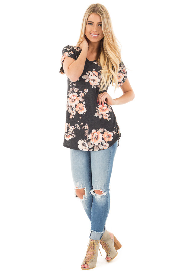 Charcoal Floral French Terry Tee with Breast Pocket front full body