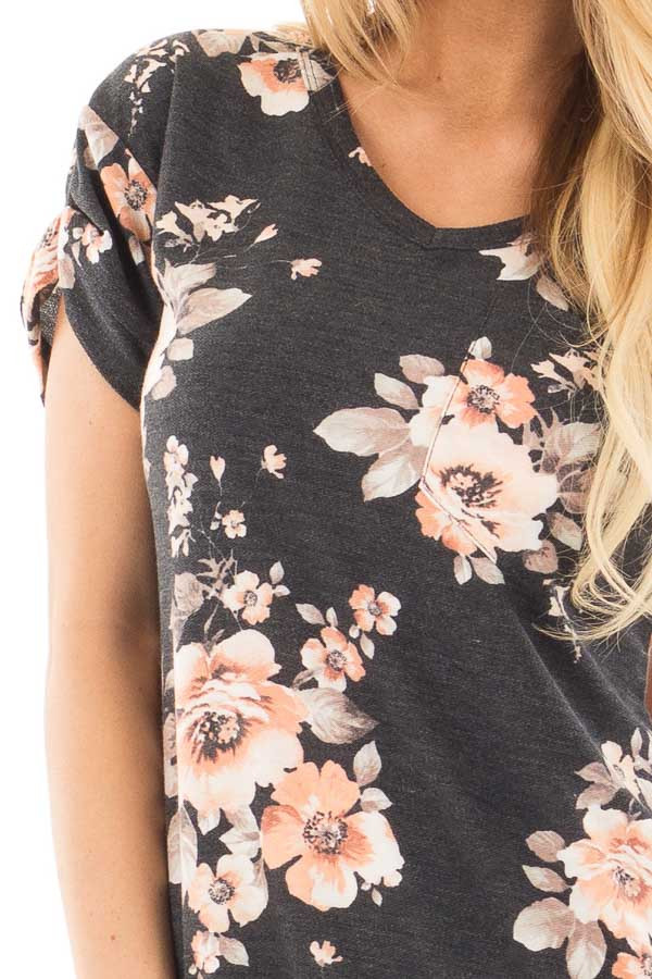 Charcoal Floral French Terry Tee with Breast Pocket detail