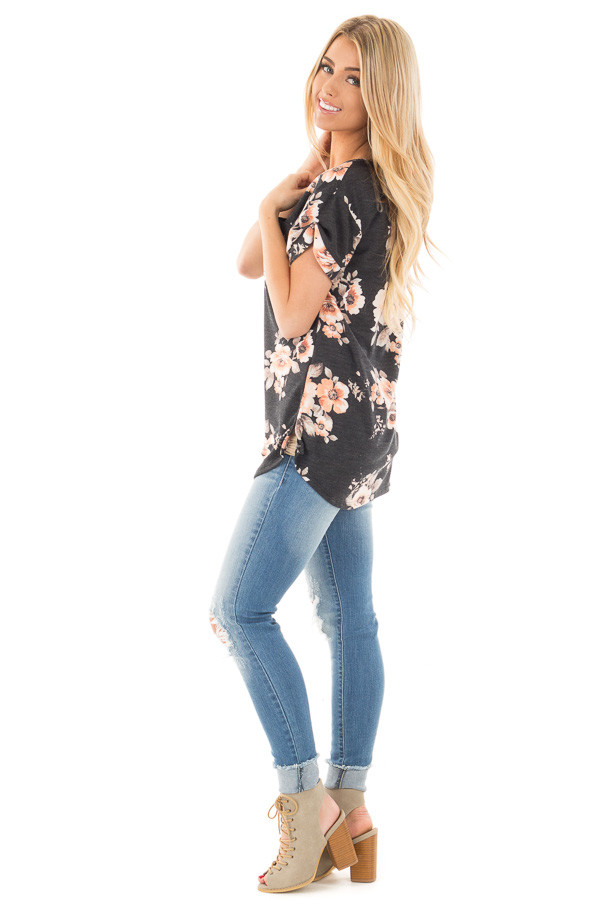 Charcoal Floral French Terry Tee with Breast Pocket side full body
