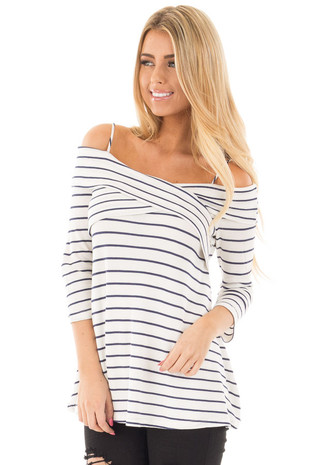 Off White and Navy Striped Off the Shoulder 3/4 Sleeve Top front close up