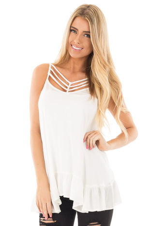 Ivory Crepe Tank Blouse with Caged Neckline and Ruffle Hem front close up