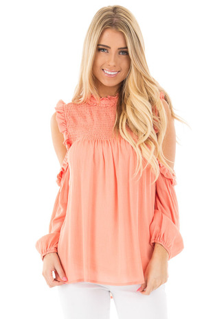 Peach Cold Shoulder Blouse with Ruching and Ruffle Details front close up