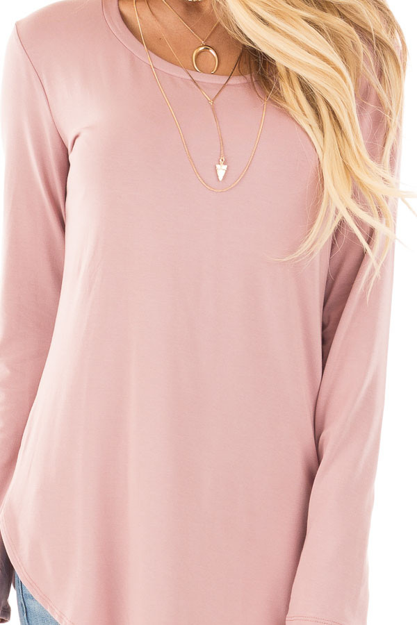 Mauve Long Sleeve Round Neck Top detail