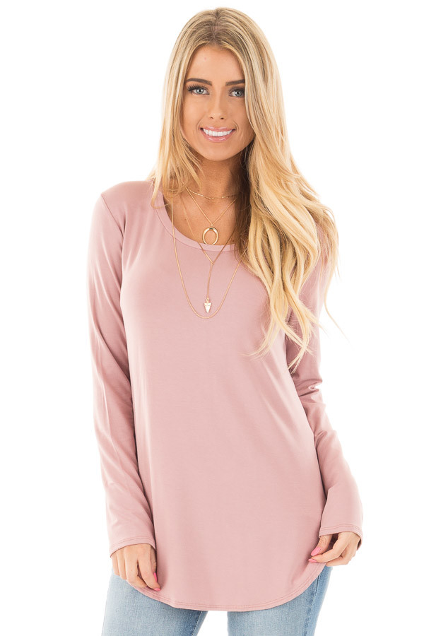 Mauve Long Sleeve Round Neck Top front close up
