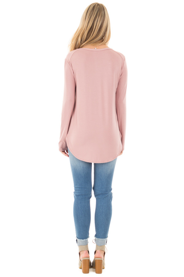 Mauve Long Sleeve Round Neck Top back full body