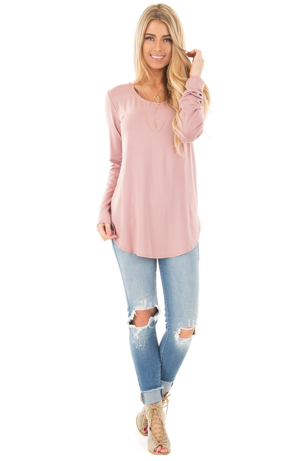 Mauve Long Sleeve Round Neck Top front full body