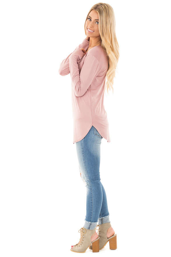 Mauve Long Sleeve Round Neck Top side full body