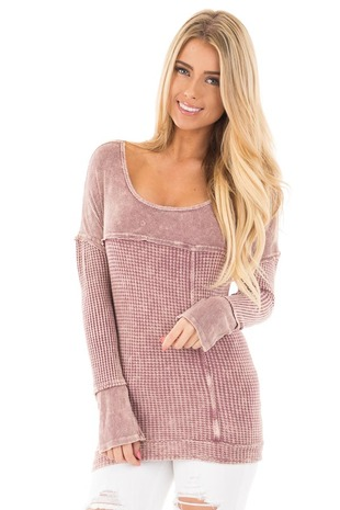 Mauve Mineral Wash Textured Knit Long Sleeve Top front close up