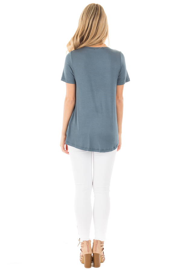 Antique Blue Front Knot Short Sleeve Tee back full body