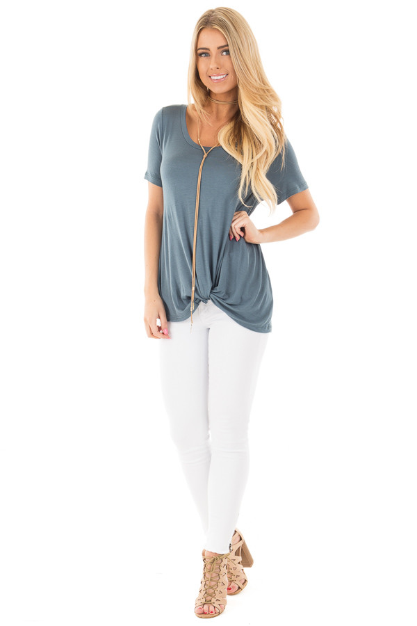 Antique Blue Front Knot Short Sleeve Tee front full body