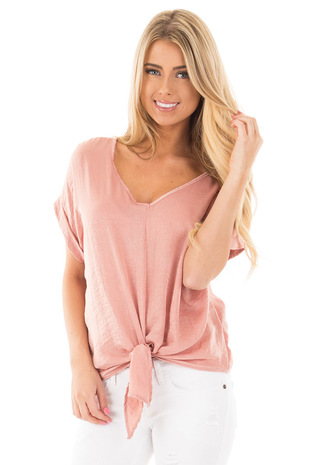 Satin Blush Short Sleeve V Neck Top with Front Tie front close up