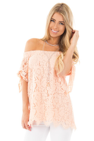 Peach Off Shoulder Lace Top with Knotted Sleeves front close up