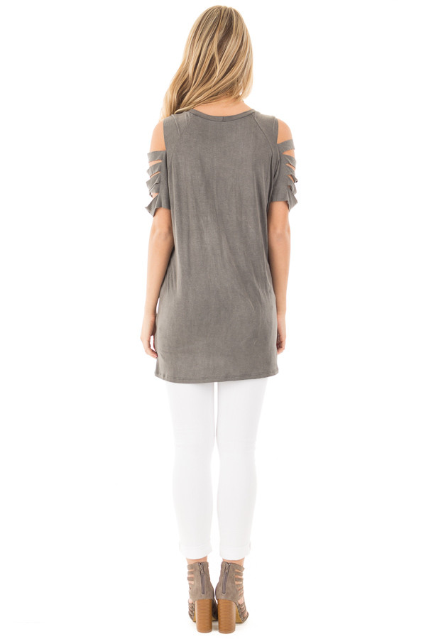 Charcoal Washed Jersey Knit Tee with Ladder Cut Out Sleeves back full body