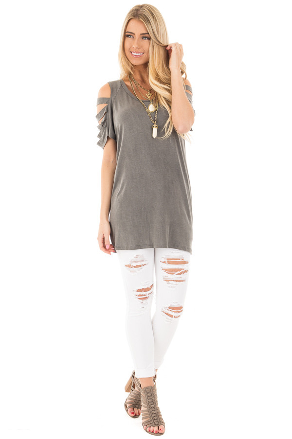 Charcoal Washed Jersey Knit Tee with Ladder Cut Out Sleeves front full body