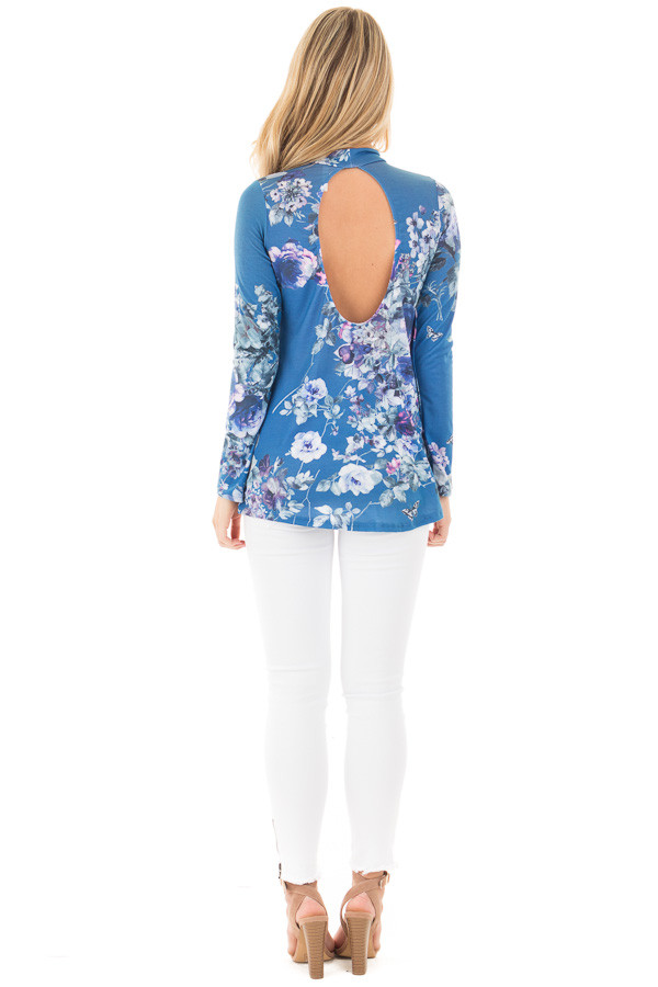 Blue Floral Print Top with Key Hole Front and Back Detail back full body