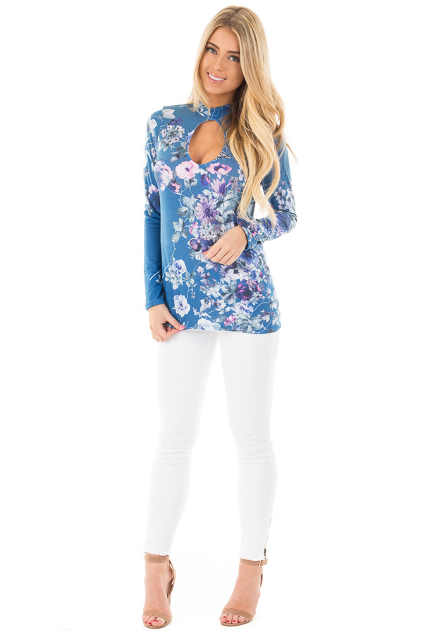 Blue Floral Print Top with Key Hole Front and Back Detail front full body