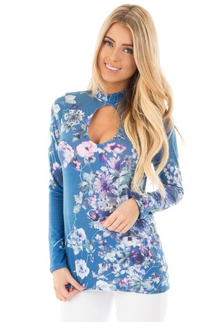Blue Floral Print Top with Key Hole Front and Back Detail front close up