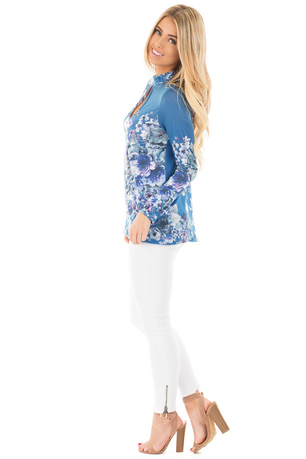 Blue Floral Print Top with Key Hole Front and Back Detail side full body