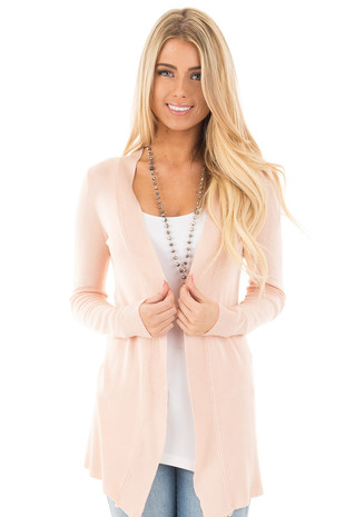 Blush Soft Knit Open Long Sleeve Cardigan front close up