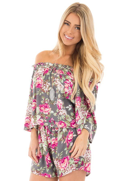 Grey and Fuchsia Floral Print Off the Shoulder Romper front close up