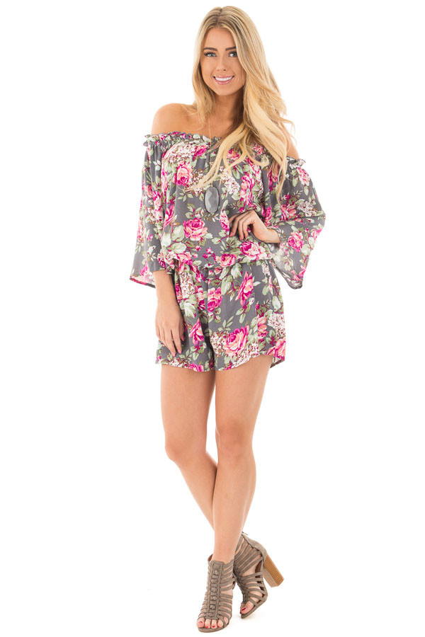Grey and Fuchsia Floral Print Off the Shoulder Romper front full body