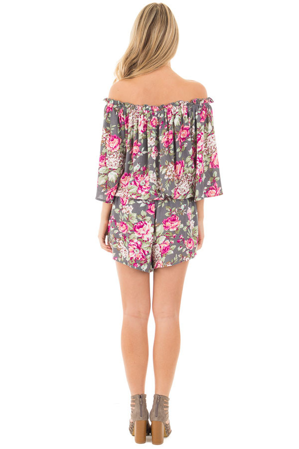 Grey and Fuchsia Floral Print Off the Shoulder Romper back full body