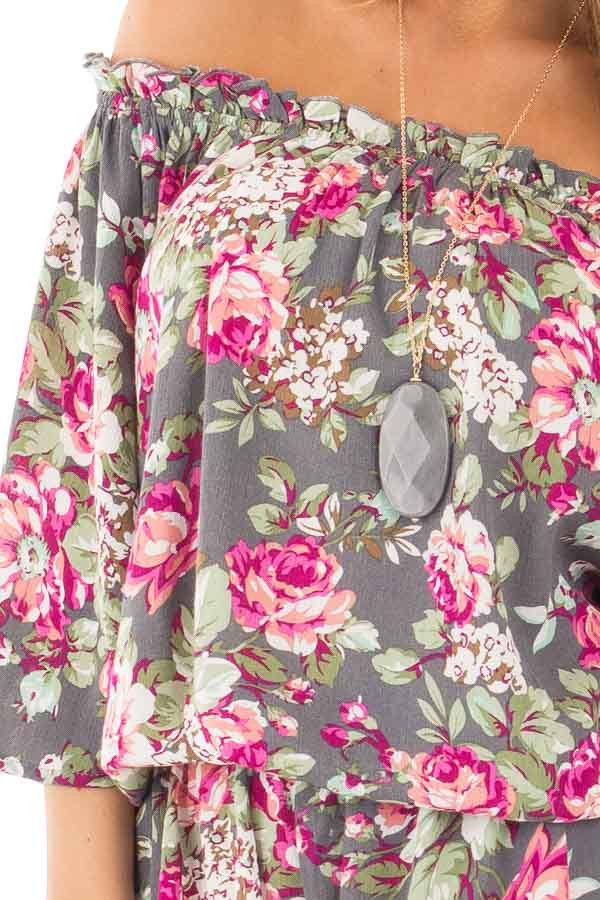 Grey and Fuchsia Floral Print Off the Shoulder Romper detail