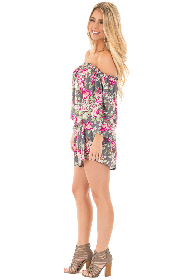 Grey and Fuchsia Floral Print Off the Shoulder Romper side full body