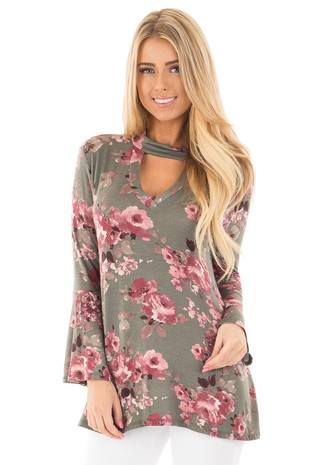 Deep Olive Floral Bell Sleeve with Cut Out Mock Neck Top front close up