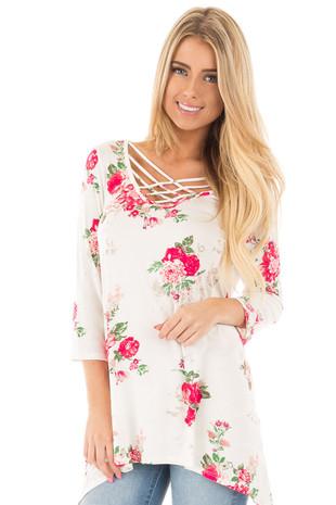 Ivory and Rose Floral Swing Tee with Criss Cross Neckline front close up