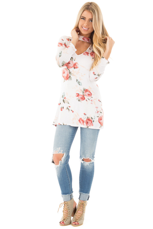 Ivory and Blush Floral Long Sleeve Tee with V Neck Cut Out front full body