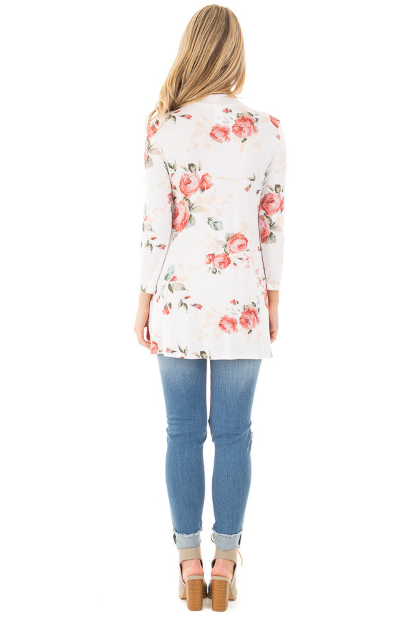Ivory and Blush Floral Long Sleeve Tee with V Neck Cut Out back full body