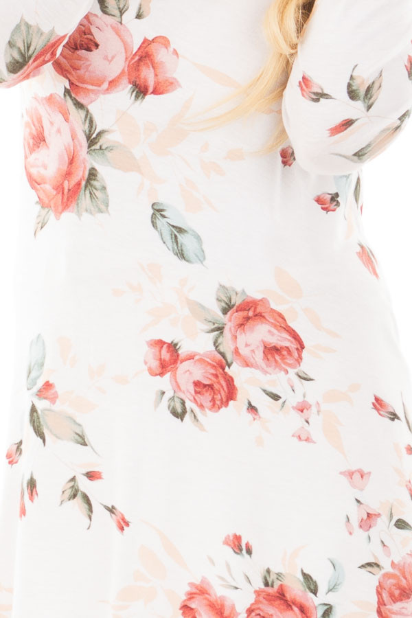 Ivory and Blush Floral Long Sleeve Tee with V Neck Cut Out detail