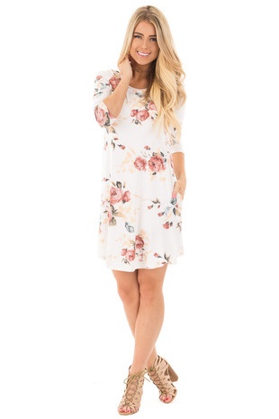 Ivory 3/4 Sleeve Dress with Blush Floral Print and Pockets front full body