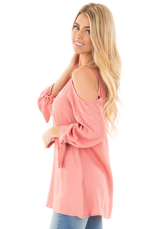 Salmon Cold Shoulder Blouse with Tie Detail on Sleeves side close up