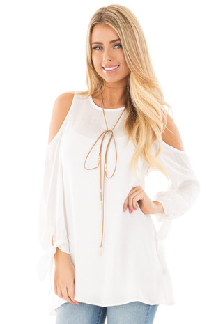 Ivory Cold Shoulder Blouse with Tie Detail on Sleeves front close up