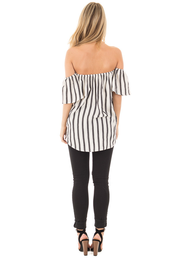 Black and White Striped Off the Shoulder Top back full body