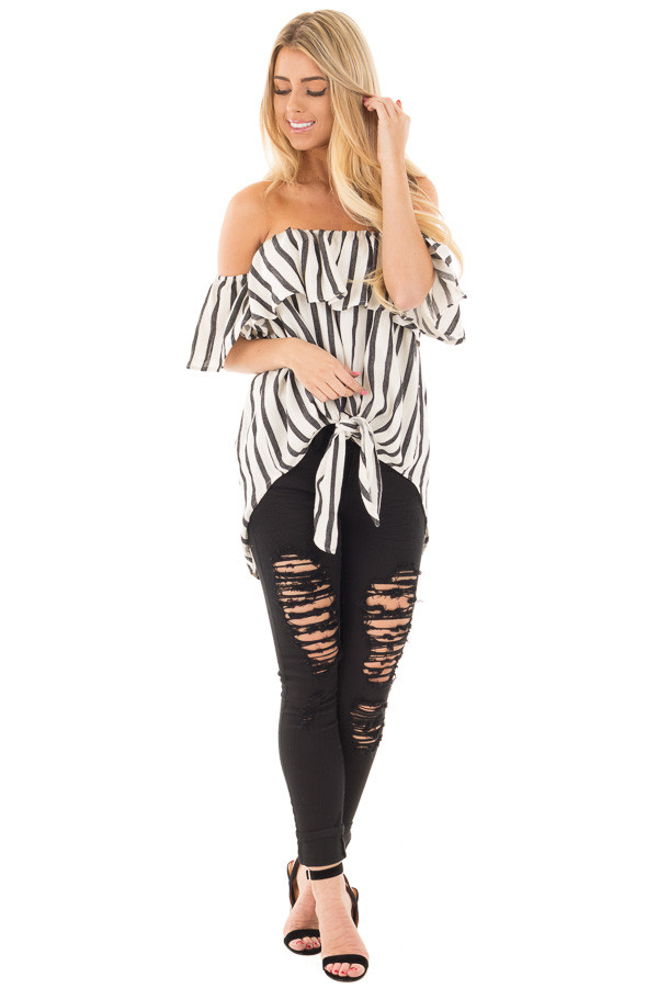 Black and White Striped Off the Shoulder Top front full body